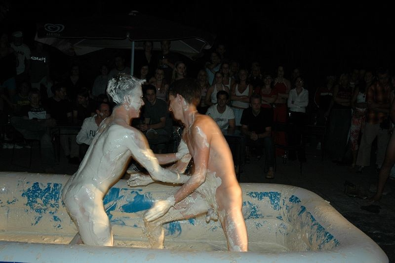 naked mud wrestling